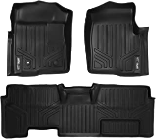 MAXLINER Floor Mats 2 Row Liner Set Black for 2009-2010 Ford F-150 SuperCab Non Flow-Through Center Console