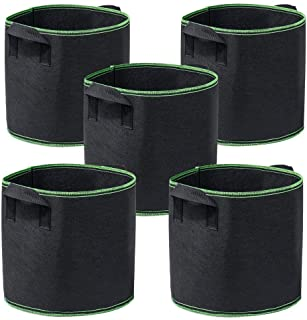 Garden4Ever 5-Pack 5 Gallon Grow Bags Heavy Duty Container Thickened Nonwoven Fabric..