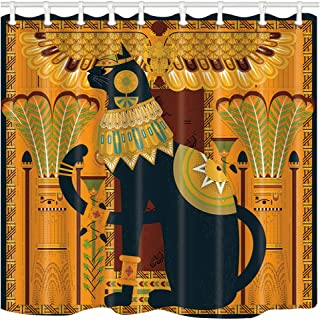 NYMB Egyptian Decor, Elegant Cat Coloring Page Design in Egypt Style Shower Curtain, Polyester Fabric Bathroom Decorations, Bath Curtains Hooks Included, 69X70 inches (Multi7)