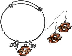 Siskiyou NCAA unisex-adult Dangle Earrings and Charm Bangle Bracelet Set