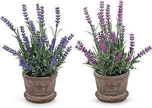 Set of 2 Louis Garden Artificial Mini Potted Plants Home Decoration … (Lavender)