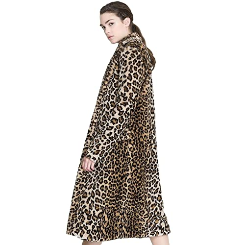 b11b8b6808b3 Aukmla Women's Faux Fur Coat Leopard Printed Long Lapel Jacket With Pockets