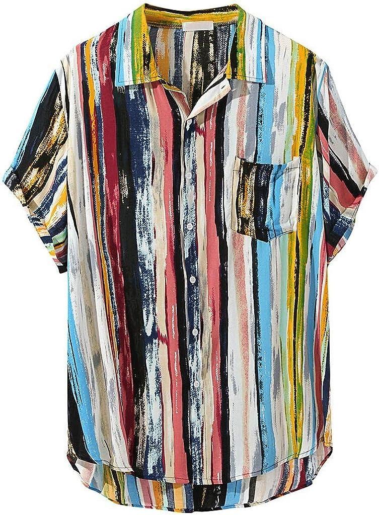 Beautyfine Mens Blouses & Button-Down Shirts Multi Color Lump Chest Pocket Short Sleeve Round Hem Loose Tops