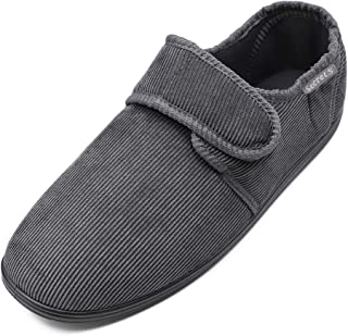 Hotme Men's Cozy Memory Foam Slippers with Adjustable Strap,Extra Wide Width Diabetic Arthritis Edema Swollen Feet House Shoes Indoor Outdoor Anti-Skid Rubber Sole