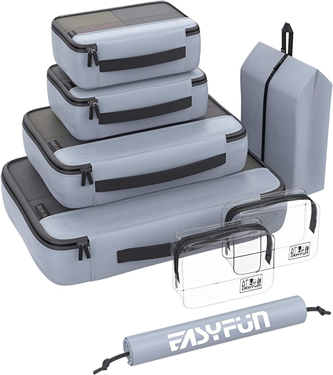 Packing Cubes for Suitcases 8 set travel cube Luggage Organizers with 2 Toiletry Bags & Shoe Bags