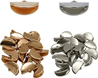 120 Pcs Silver Gold Half Round Ribbon Crimps Cord End Bracelet Bookmark Caps Clasps Clamp Cord Cap Tip Fasteners Clasp with Loop for DIY Jewelry Making,20mm