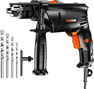 Rotary Hammer Drill for Concrete, Lomvum 7.3Amp3000RPM Electric Impact Drill, 1/2'' Metal Chuck Variable Speed Corded Drill for Brick/Wood/Steel/Masonry with 4 Drill Bit Set