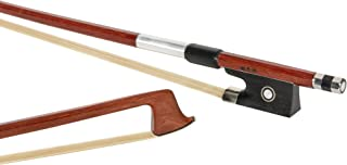 MI&VI Classic Brazilwood Violin Bow (3/4 Size) with Ebony Frog | Octagonal Silver Mount | Well Balanced | Light Weight | Real Mongolian Horse Hair - By MIVI Music