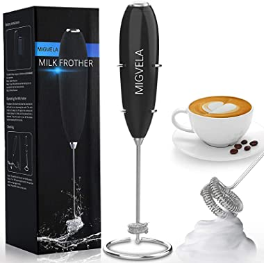 MIGVELA Coffee Milk Frother Handheld Electric Double Whisk Drink Mixer Battery Operated One-Button Hand Held Mini Foam Maker