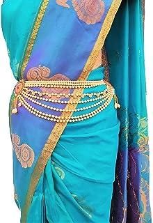 WomenSky Golden Crystal Gold Plated Pearl Stylish Kamarpatta Ottiyanam Kamarband for Women