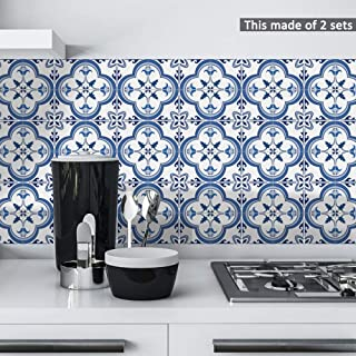 Fymural Decorative Tile Sticker for Kitchen & Bathroom - Peel and Stick Tile Backsplash Waterproof Anti-Mold 10PCS 8x8 inch Pearly Portuguese Pattern Tile Wallpaper Decals for Wall Stairs Decals Mural