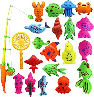 Coxeer 22PCS Fishing Toy Set Novelty Fun Bathtub Toy Fishing Game Set for Toddler