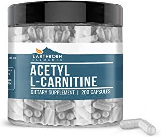 EARTHBORN ELEMENTS Acetyl L-Carnitine (ALCAR) (200 Capsules) 100% Pure & Gluten-Free (1100 mg Serving)