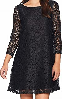 Women's Long Sleeve Lace Shift Dress with Ribbon Bow in Back