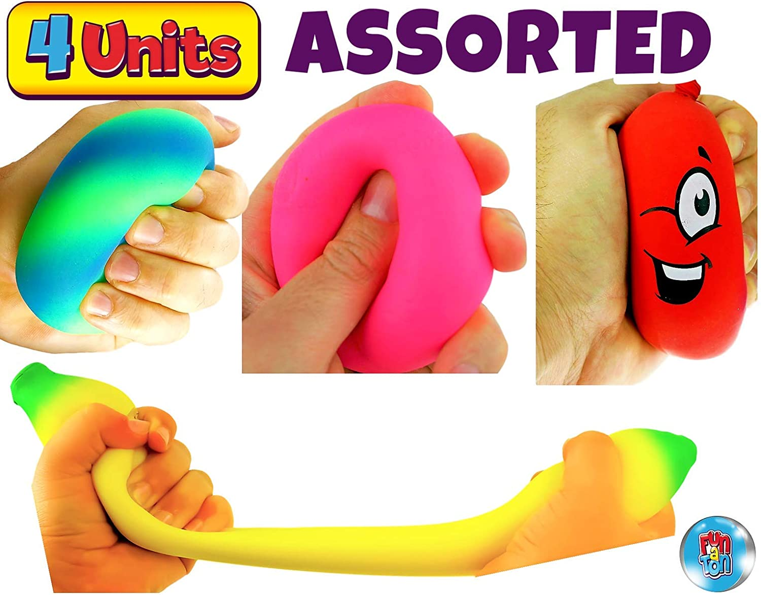Hand Therapy JA-RU 4 Fidget Toys Kit Stress Relief Toys 3340-401-5558-5564p Stretchy Toys Stress Relief Sand Ball /& Stretchy Hot Dog Autism Toys for Kids and Adults Doug Ball Stretchy Banana