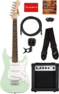 Fender Squier Mini Strat Electric Guitar - Surf Green Bundle with Amplifier, Instrument Cable, Tuner, Strap, Picks, Fender Play Online Lessons, and Austin Bazaar Instructional DVD