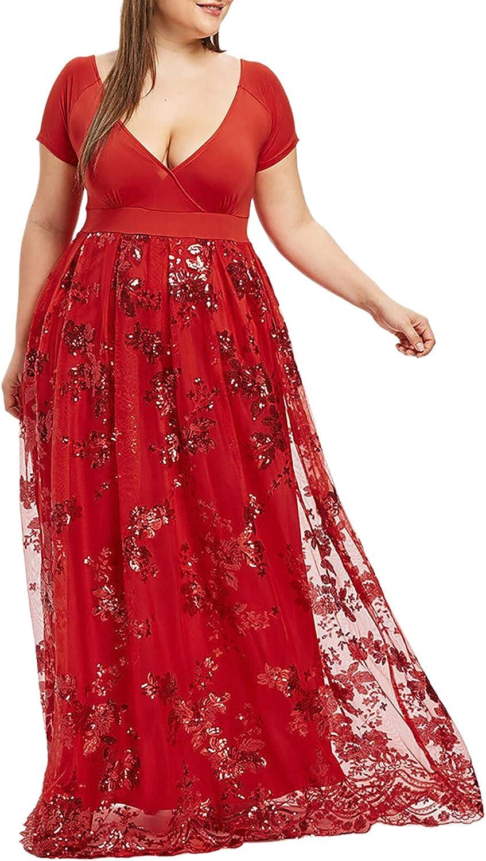 Summer Plus Size Dress V Neck Short Sleeve Beach Dress Floral Print Patchwork Sundress Sequin Mesh Maxi Party Dress