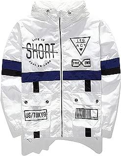 Men's Windproof Hooded Zip-up Lightweight Windbreaker Jacket