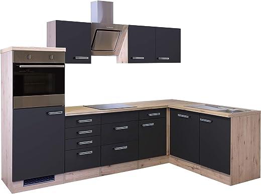 MMR Eckküche LONDON – L-Küche mit E-Geräten – Glaskeramik-Kochfeld – Breite 280 x 170 cm – Anthrazit