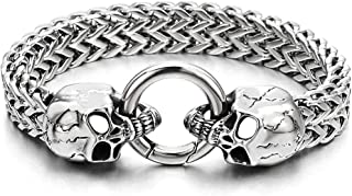Gothic Mens Stainless Steel Skull Franco Link Curb Chain...