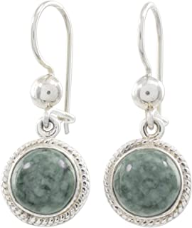 Light Green Jade and .925 Sterling Silver Dangle Earrings, Green Apple'