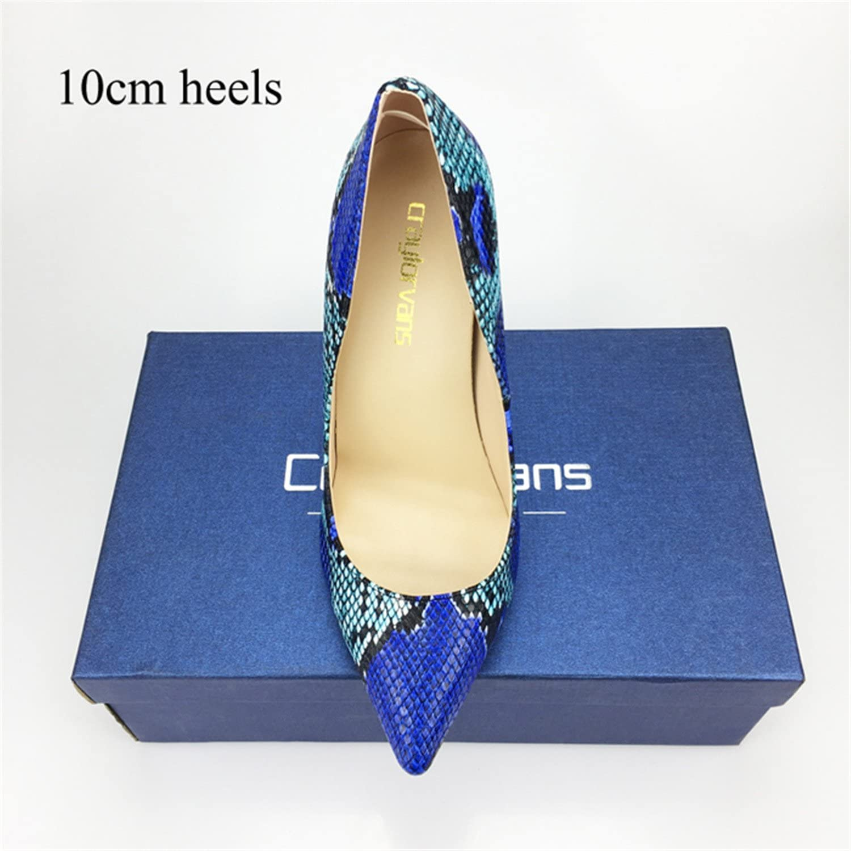 Gome-z 2018 Women shoes bluee Snake Printed Sexy Stilettos High Heels 12cm 10cm 8cm Pointed Toe Women Pumps