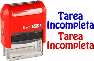 TAREA Incomplete Stamp - ExcelMark Self-Inking Two-Color Rubber Spanish Teacher Stamp - Perfect for Grading Homework - Red and Blue Ink