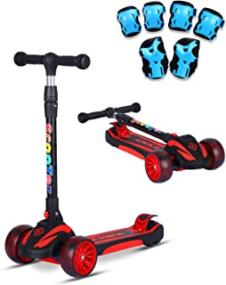 SDSPEED Kick Scooter for Kids Extra Wide Light-Up Wheels(Safety First) Scooter 3 Height Adjustable Wide Deck Best Gifts Kids, Boys Girls Protective Gear Set