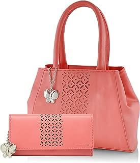 Butterflies Women's Handbag and Purse Combo (BNS WB0270, Dark Peach)