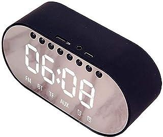 TIANYOU Altavoz Bluetooth, Reloj de Alarma Digital de Espejo, Brillo Ajustable Dimmer Y Snooze, Reloj Led Simple con Alarm...