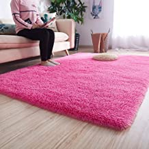 Noahas Ultra Soft Shaggy Area Rugs Fluffy Living Room Carpet Bedroom Fur Rug Anti-Skid Child Playing Mat Home Decor, 5.3 x 7.5 Feets Hot-Pink