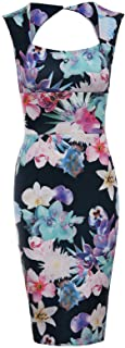 Forever Womens Sleeveless Floral Print Keyhole Sweetheart Bodycon Dress (US 8, Black Colourful)