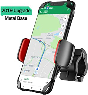 IPOW Bike Phone Mount Holder with Durable Metal Base Silicone Clamp Rubber Band Bicycle Motorcycle Phone Mount Holder Universal Phone Holder for Bike Fit 0.6