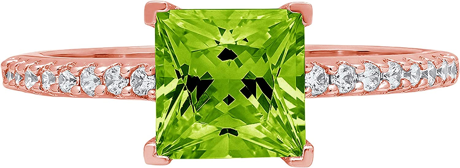1.6ct Brilliant Princess Cut Solitaire with Accent Designer Genuine Natural Vivid Green Peridot Gemstone Ideal VVS1 Engagement Promise Statement Anniversary Bridal Wedding ring 14k Pink Rose Gold