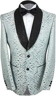 SIRRI Designer Men's Embroidered Ivory & Teal Slim Fit Wedding Groom Blazer