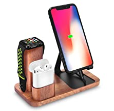 Solid Wood Cell Phone Stand, LiZhi 3 in 1 Universal Charging Dock Station Compatible with Airpods Apple iWatch Series 4/3/2/1 iPhone Xs Max XS XR X 8 7 6S 6 Plus SE 5S 5 Android Smartphone