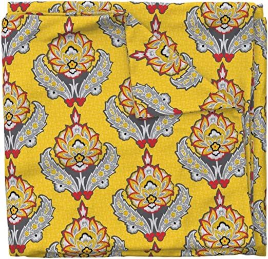 Roosters Grey Yellow Damask Custom Saddle Cover