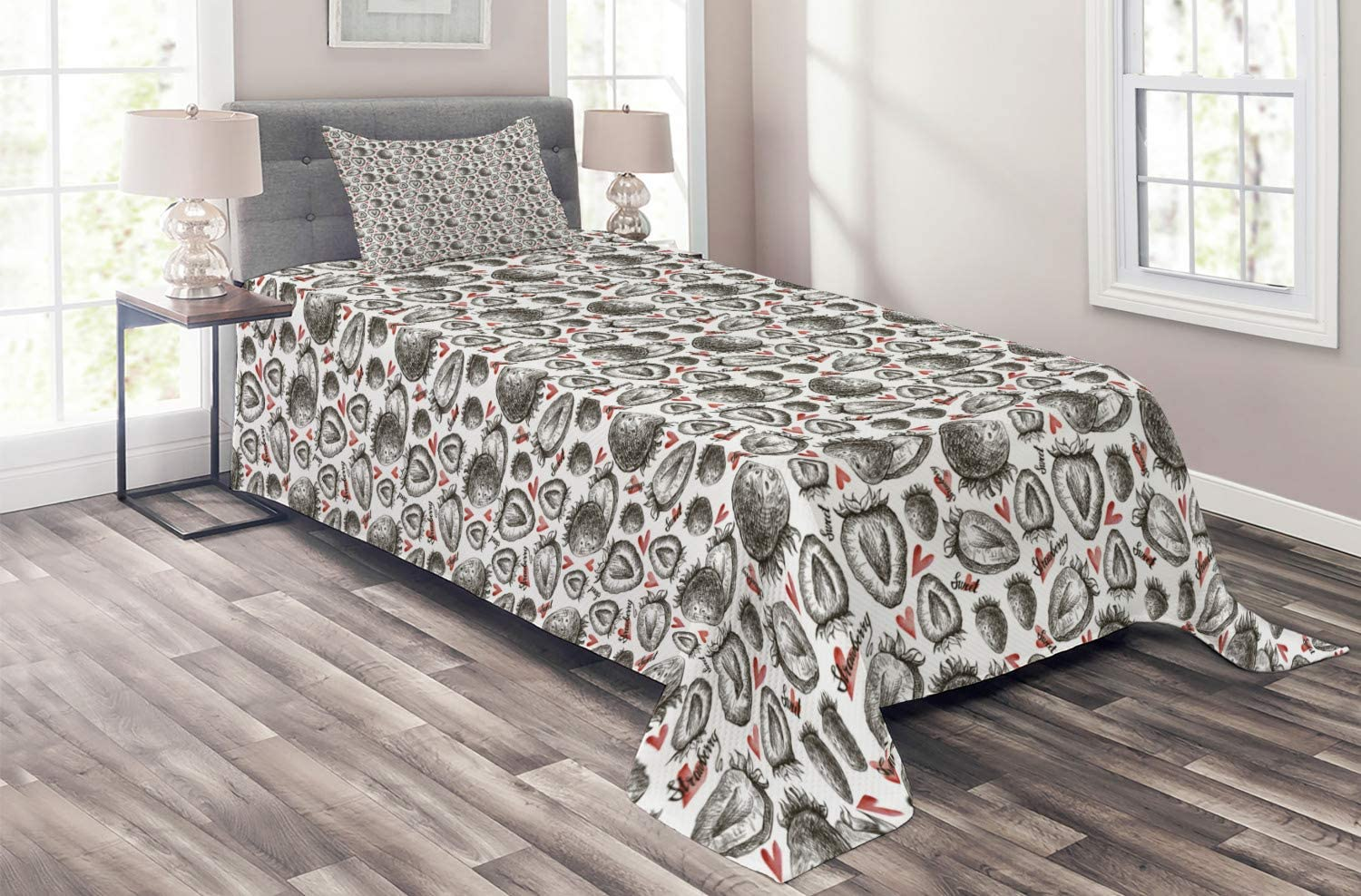 Ambesonne Strawberry cheap Coverlet Fruits Childi Pattern Hearts with Ranking TOP8