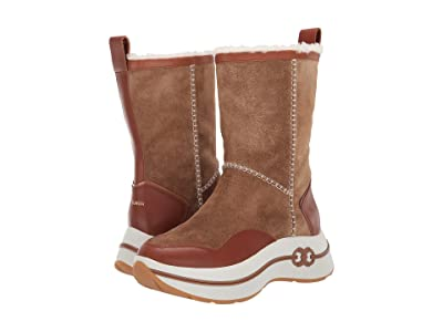 Tory Burch Gemini Link Platform Shearling Boot (Dark Tiramisu/Malto Brown) Women