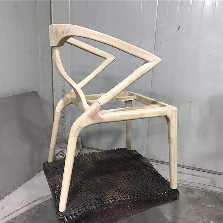 QWF Chaise Ergonomique de Jeu de Chaise de Bureau avec Dossier Chaise de Salle à Manger Meubles en Bois Massif léger Chaise Longue de café de Luxe B