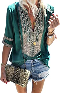 Women's Summer T-Shirt V Neck Short Sleeve Casual Tops Boho Embroidered Blouse