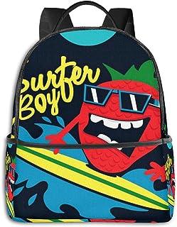 Mochila Tipo Casual Mochila Escolares Mochilas Escolar Estilo Impermeable para Viaje de Ordenador Portátil para Hombre Mujer Clip Surfer Strawberry Beach