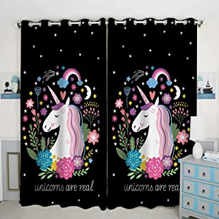 QH Window Curtain Panels Unicorn are Real Pattern Blackout Curtain Panels Thermal Insulated & Light Blocking 42W x 84L inch (Set of 2 Panels)