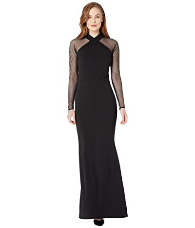 Calvin Klein Cross Neck Gown w/ Illusion Sleeve (Black) Women