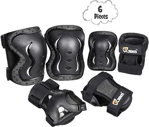 JBM niños ciclismo rodillo patinaje rodilla codo muñeca almohadillas para orejas para orejas protectoras–negro/tama...