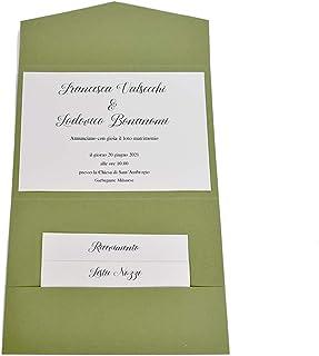 Partecipazioni matrimonio personalizzate - inviti nozze pocketfold verde elegante 10 pezzi