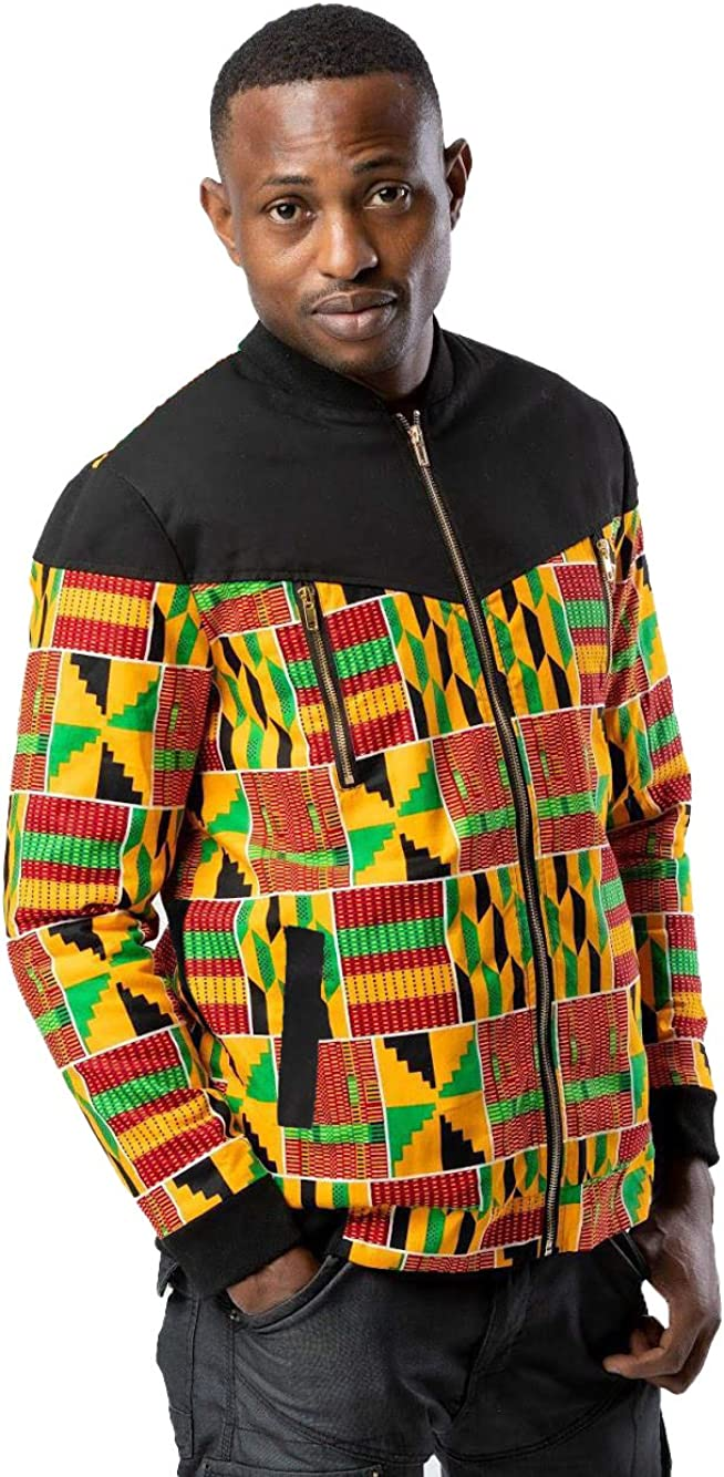 Mens Casual Lightweight Africa Print Kente Jacket Bomber Jacket Varsity Coat For Fall and Winter Weather