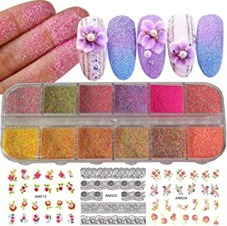 12 Colors Iridescent Nail Art Glitter Powder Pigment Sugar Sandy Dust DIY Nail Art Decoration Pigment Glitters for Nail Art, Festival Crafts, Acrylic Nail, Face Body Cosmetic (Multi-color)
