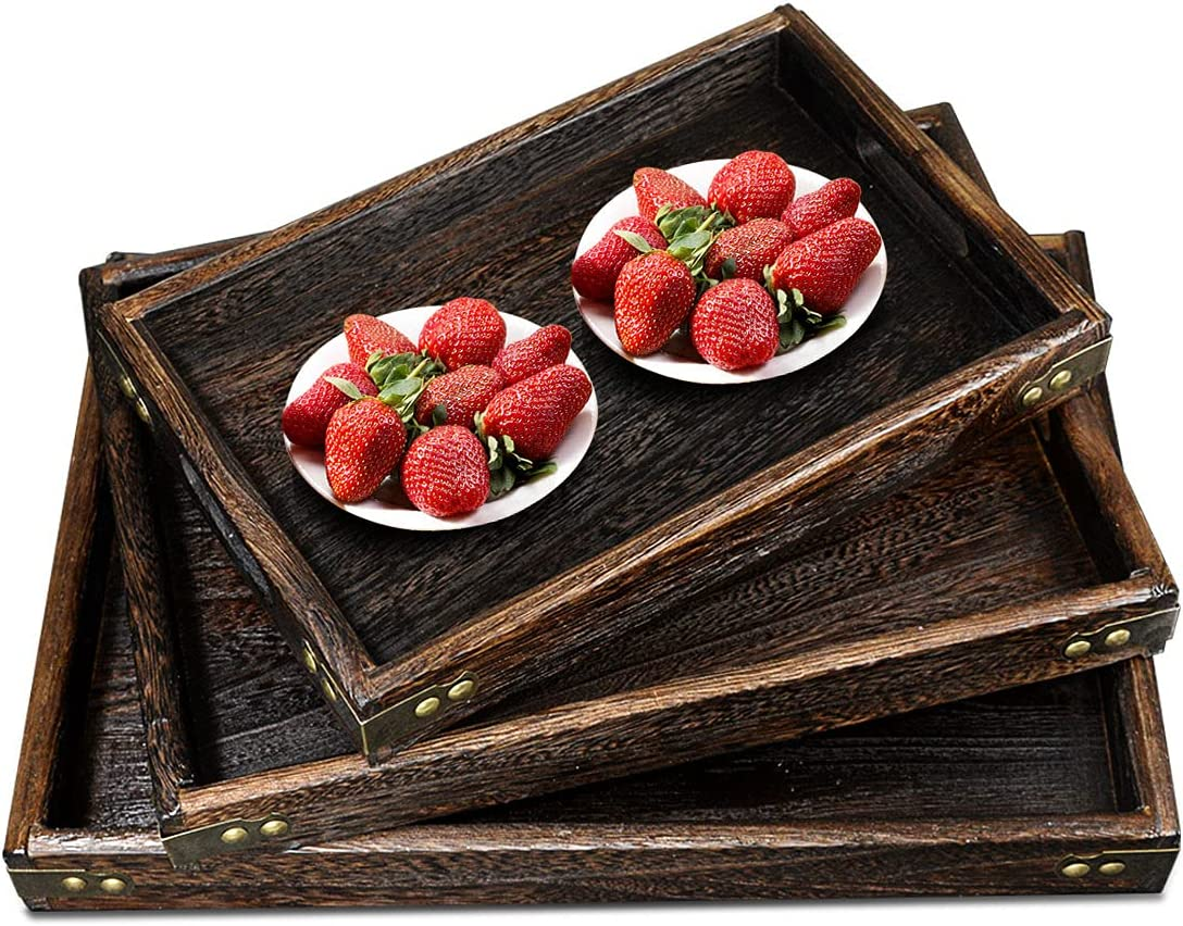 AoceanGo Rustic Vintage Food Serving Trays with Handles Set of 3 Large Medium Small Nesting Wooden Tray for Ottoman Breakfast Dinner Decorative Farmhouse Decor Wood Coffee Table Tray for Kitchen Party