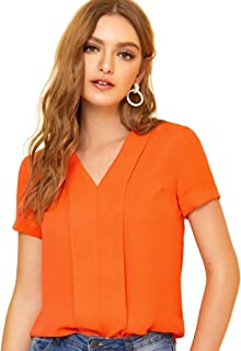 Women's V-Neck Short Sleeve Top Pleated Placket Casual Blouse